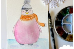 pingouin, aquarelle, dessin aquarelle, atelier créatif, technique aquarelle, atelier peinture