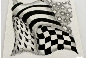 zentangle, dessin facile a faire, gribouillage, dessin zen, zentangle tuto, motif dessin, dessin relaxation, dessin zentangle, motif zentangle, diplome zentangle, czt, zendala