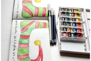 artjournal, diy artjournal, mixed media, creativite, carnet creatif, thé, noël artjournal, inspiration artjournal, chaussettes artjournal, lutin, dessin lutin, dessin chaussettes, aquarelle chaussettes, aquarelle lutin, aquarelle artjournal