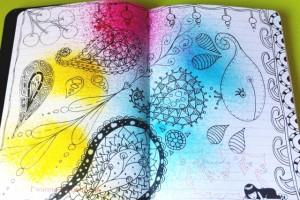 Doodles dans mon nouveau carnet et Pochoir homemade