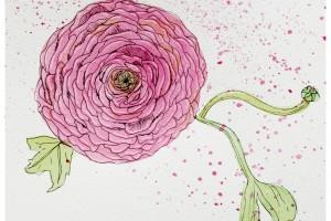 Nuage au feutre et fleurs à l'aquarelle