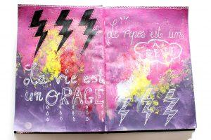 Une page orageuse dans mon artjournal