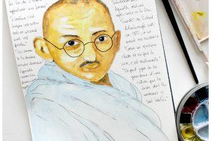 Portrait de Gandhi à l'aquarelle
