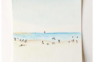 plage, paysage, aquarelle, dessin aquarelle, atelier créatif, technique aquarelle, atelier peinture