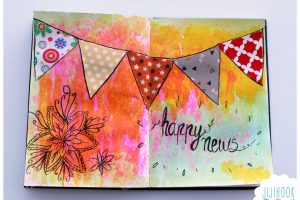 fanions, artjournal, diy artjournal, mixed media, creativite, journal creatif, carnet creatif
