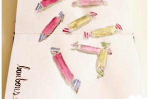 Des bonbons dans mon art journal