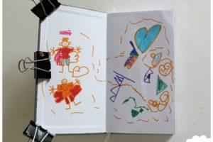 Idées pour remplir un carnet créatif / art journal avec ses enfants