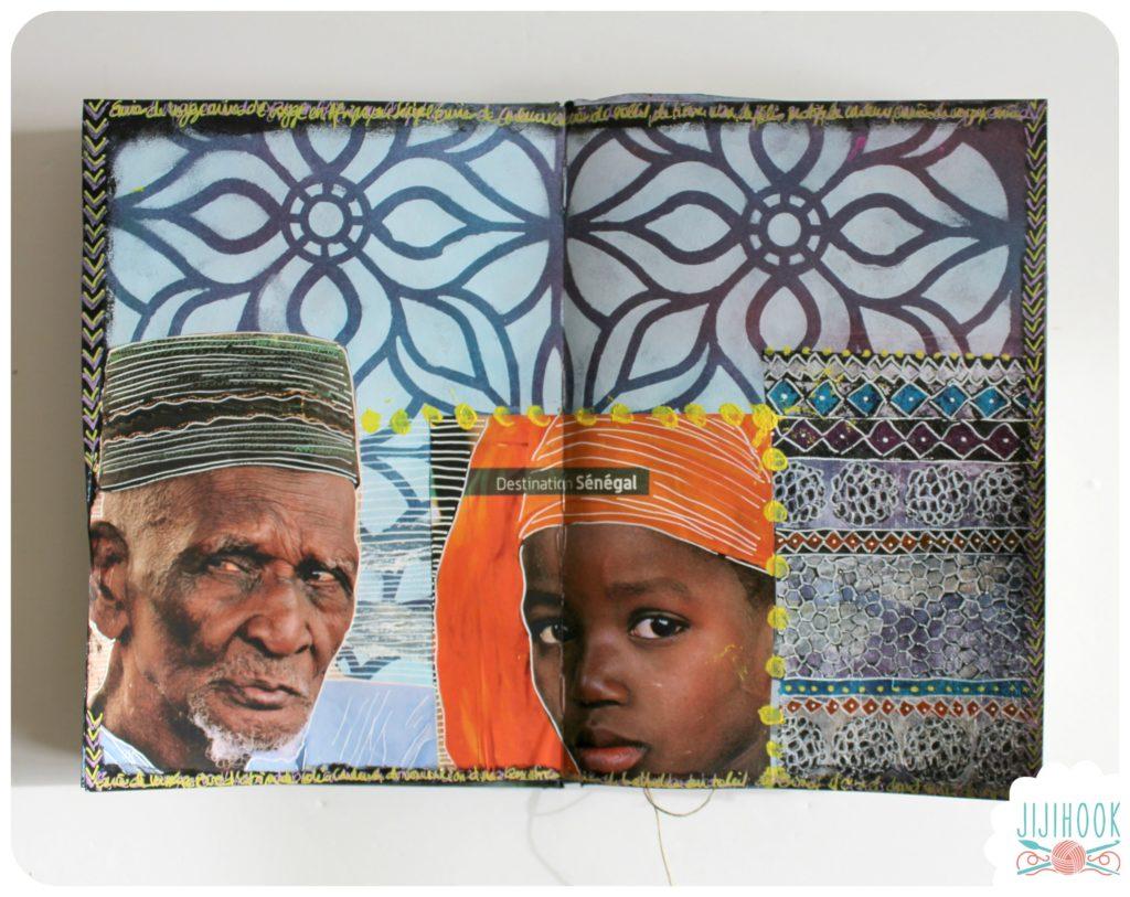 comment faire une page d 39 art journal avec pochoirs et collages jiji hook. Black Bedroom Furniture Sets. Home Design Ideas