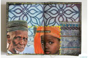 Comment faire une page d'art journal avec pochoirs et collages