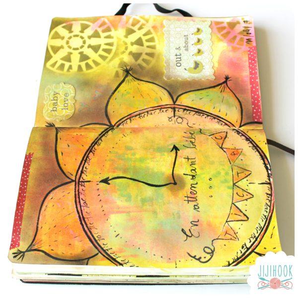 artjournal, diy artjournal, mixed media, creativite, carnet creatif, horloge, inspiration artjournal