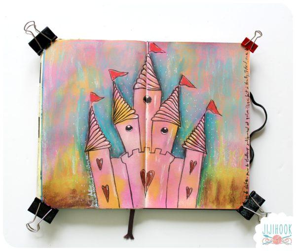 artjournal, diy artjournal, mixed media, creativite, carnet creatif, chateau, inspiration artjournal