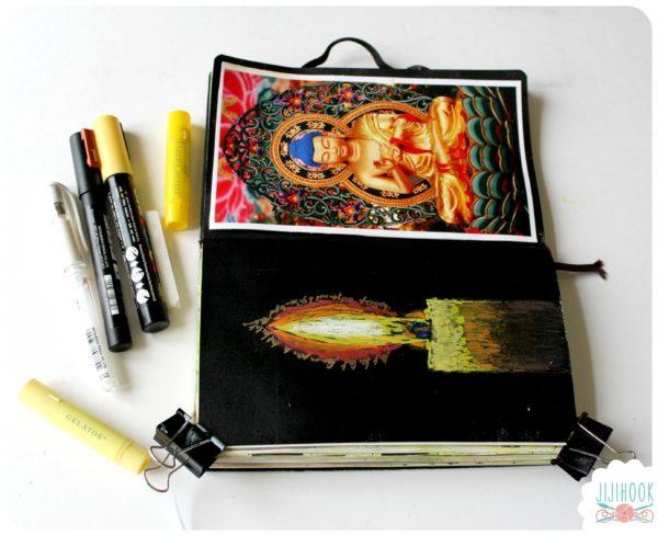 artjournal, diy artjournal, mixed media, creativite, carnet creatif, flamme, collage, zen, inspiration artjournal