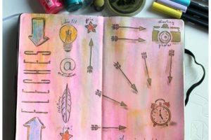 artjournal, diy artjournal, mixed media, creativite, carnet creatif, flèches, inspiration artjournal, encres
