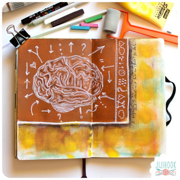 artjournal, diy artjournal, mixed media, creativite, carnet creatif, cerveau, labyrinthe, inspiration artjournal