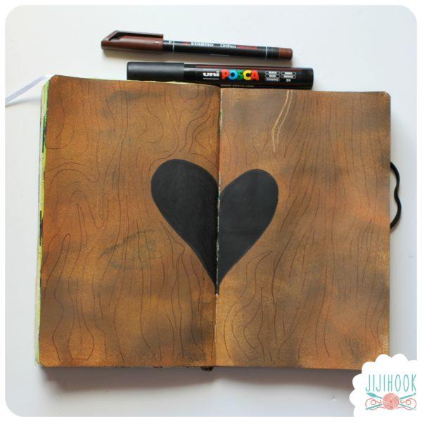 artjournal, diy artjournal, mixed media, creativite, carnet creatif, coeur, zen, bois, inspiration artjournal, tuto artjournal
