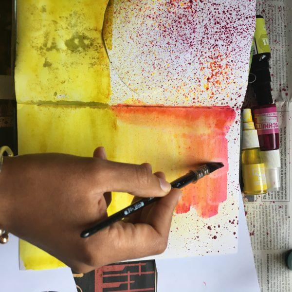 artjournal, atelier artjournal, atelier gratuit artjournal, inspiration artjournal, challenge artjournal, carnet créatif, tuto carnet créatif, feutres artjournal, izink artjournal, picjournal, posca, automne, fond de page artjournal, champignons, encres artjournal, distress artjournal