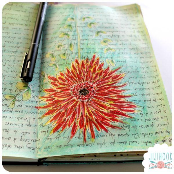 artjournal, atelier artjournal, inspiration artjournal, challenge artjournal, carnet créatif, fond de page artjournal, bébé artjournal, artjournal jijihook