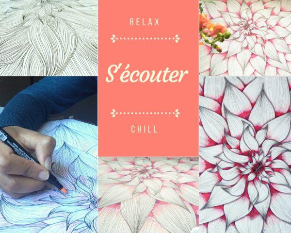 Rester en paix quand les pensées s'accélèrent, article Jijihook.fr, Zentangle, dessin, fleur